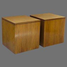 Pair Minimalist Cube Side Tables Walnut