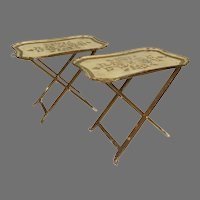 Vintage Pair of Venetian Florentine Folding Tray Tables Gold White