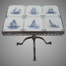 Vintage Blue and White Delft Sailing Ships Tile Table Nautical