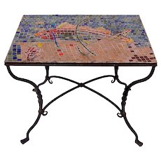Wrought Iron Mosaic Tile Top Table