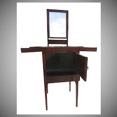 English Mahogany Enclosed Lift Top Dressing Stand