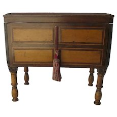 Small Lift Top Chest on Legs Inlaid Spanish Colonial Side Table