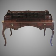 19th Century French Walnut Shaped top Desk with Pigeon Hole Cubbies Cabriole Legs