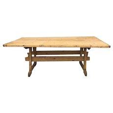 English Pine Country Farmhouse Trestle Table