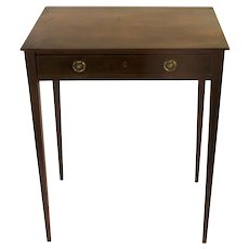 English Mahogany One Drawer Side Table Square Tapering Legs c 1820