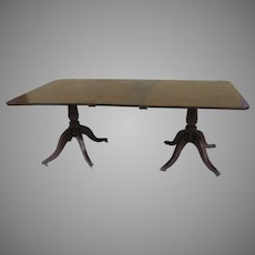 English Mahogany Double Pedestal Dining Table with One Leaf c 1830