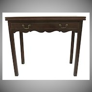 English Mahogany One Drawer Flip Top Tea Table