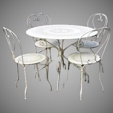 "Vintage Bistro Table Chairs by Fermob, France ""1900"""