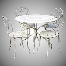 """Vintage Bistro Table Chairs by Fermob, France """"1900"""""""