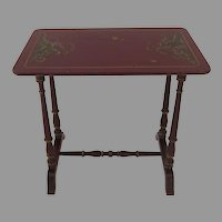 1920's Red Lacquer Chinoiserie Small Table