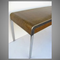 Mid Century Chrome and Bird's Eye Maple Desk Writing Table by Pace