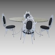 Vintage Cast Iron Oval Table  and Four Chairs