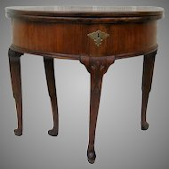 Queen Anne Mahogany Gate Leg Demilune Console Table