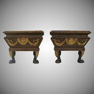 18th Century Pair of Italian Carved Gilt and Painted Console Tables with Angel and Loin foot
