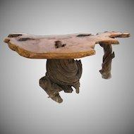 Large Vintage Desk Table Root Slab Burl