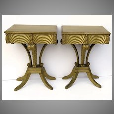 Vintage Hollywood Regency  Gilt Plumes Feather Side Tables
