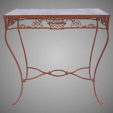 Vintage Iron Table with Basket Motif Orange Paint Glass Top
