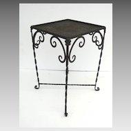 Vintage Iron Garden Table with Aqua Blue Tile Top