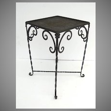 Vintage Iron Garden Table with Gallery Top