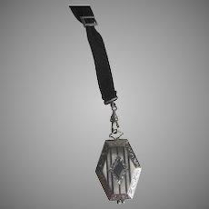 Sterling Art Deco Locket on Grosgrain Ribbon Sterling Slide  S.1680
