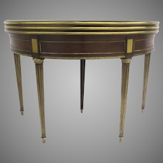 1780 French Mahogany and Brass Banded Three fold Game Table Demilune