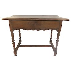 19th Century French Country Table H Stretcher One Drawer