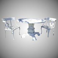 Vintage Cast Aluminum Round Garden Table with Chairs