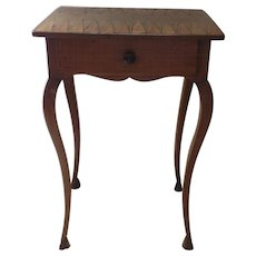 French Small Inlaid Game Board Cabriole Leg One Drawer Side Table