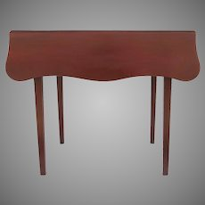 19th Century American Drop Leaf Shaped top Tea Table with Red Paint
