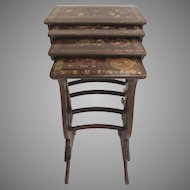 19th Century Set of Four Nesting Tables Dark Red Lacquer with Gilt