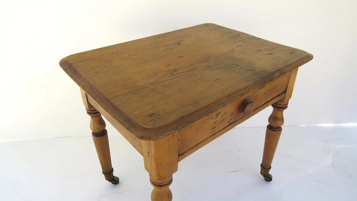 English Country Pine One Drawer Side Table Turned Legs Childu0027s Desk