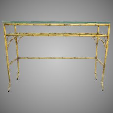 Vintage Hollywood Regency Faux Bamboo Gilt Table Console Narrow Hall