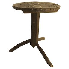 Country Rustic Primitive Three Leg Side Table Late 19th Century Early 20th Century