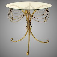 Vintage Italian Hollywood Regency Side Table with Tassel Motif