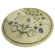 Vintage Round Brass Legged Coffee Table Marble with Painted Bouquet