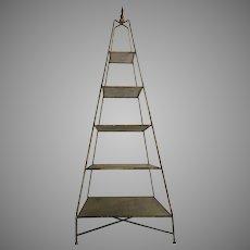 Mid-Century Italian Pyramid Five-Shelf Obelisk Etagere Gold Metallic