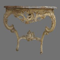 Louis XV Gesso Console Table with Shaped Thick Marble Top