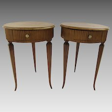 Pair of Vintage Walnut One Drawer Side End Tables Fluted Sides