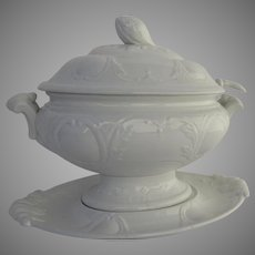 English Ironstone Large White Soup Tureen with Underplate Mid 19th Century
