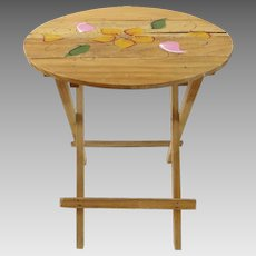 Vintage Small Painted 50s 60s Mexican Folding Side Table