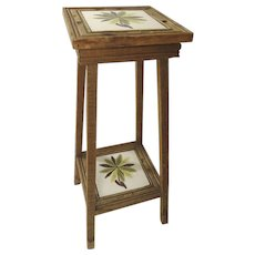 Vintage Mexican Tile Top Table Plant Stand
