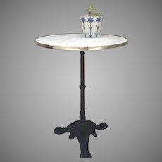 Vintage Small Bistro Table with Marble Top Cast Iron Base