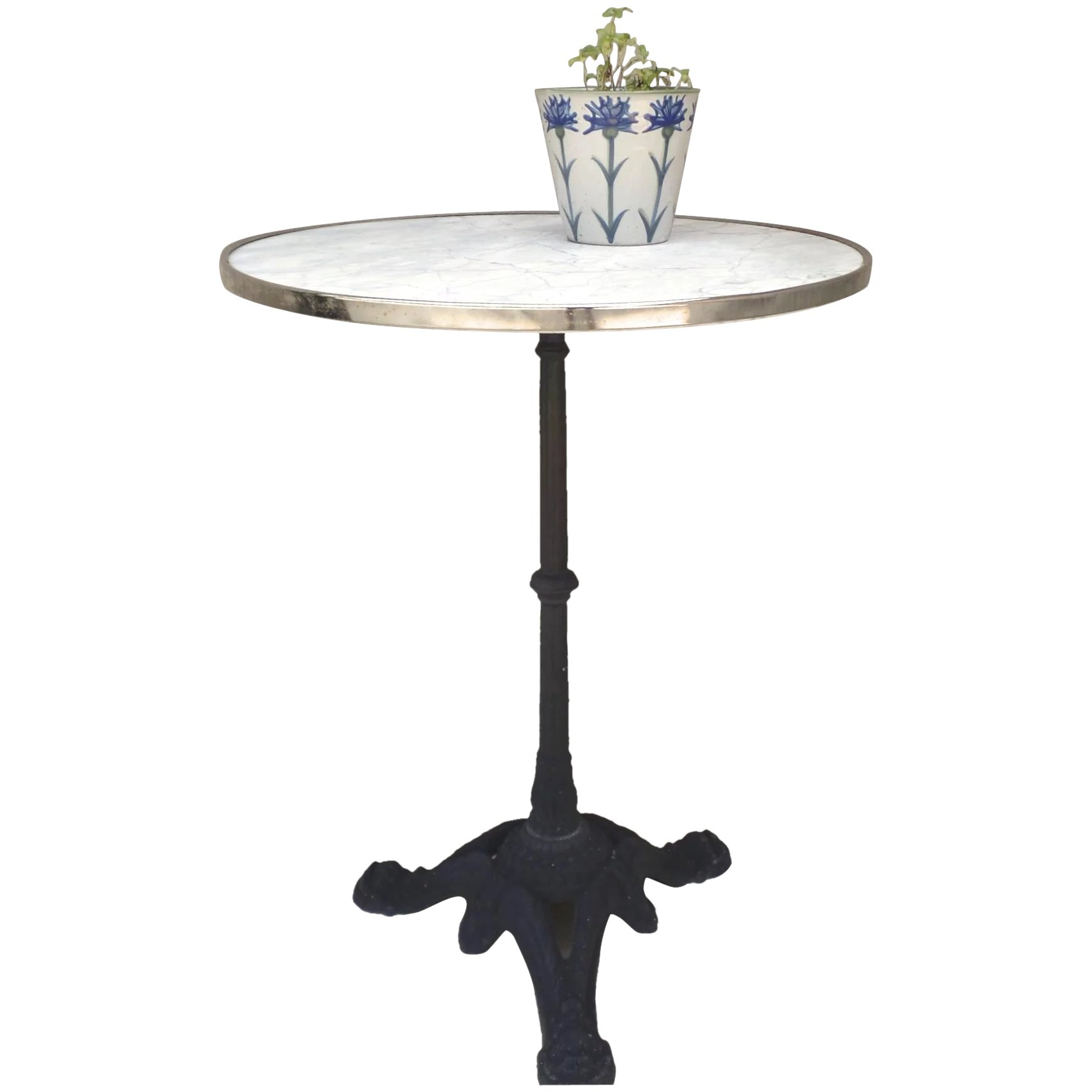 Vintage Small Bistro Table With Marble Top Cast Iron Base Black Tulip Antiques Ltd Ruby Lane