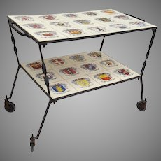 Vintage Iron and Coat of Arms Heraldic Tile Topped Bar Cart Garden Mad Men Bar