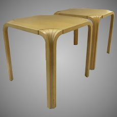 Pair of Vintage Stacking Tables Stools by Alvar Aalto Fan Leg