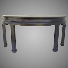 1980's Vintage Linen Wrapped Painted Finish Console Table