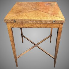 19th Century Burl Wood Game Table Envelope Handkerchief Folding