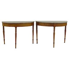 Pair of Maple Console Tables Painted Tops Round Table