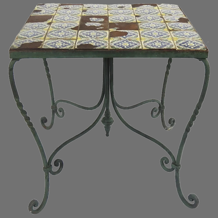 Spanish Revival Tile Top Wrought Iron