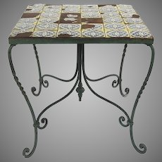 1930s Spanish Revival Tile Top Wrought Iron Side Table